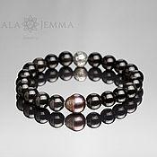 Украшения handmade. Livemaster - original item 10 mm black Onyx bracelet with 13 mm black pearl. Handmade.