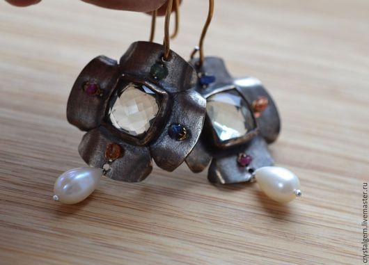 """Серьги ручной работы. Ярмарка Мастеров - ручная работа. Купить """"Fiori di camomilla"""", серебро, золото, натуральные камни. Handmade."""