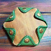 Монетницы ручной работы. Ярмарка Мастеров - ручная работа Монетница из натуральной кожи двухцветная. Handmade.