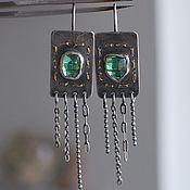 handmade. Livemaster - original item Earrings with green tourmaline, silver and Goldfield. Handmade.