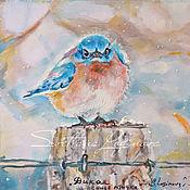 Картины и панно ручной работы. Ярмарка Мастеров - ручная работа Дикая синяя птичка-картина на шелке. Handmade.