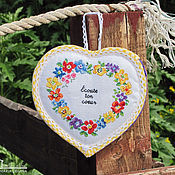 Для дома и интерьера ручной работы. Ярмарка Мастеров - ручная работа Сердечко-тайник на молнии с вышитыми цветами. Handmade.