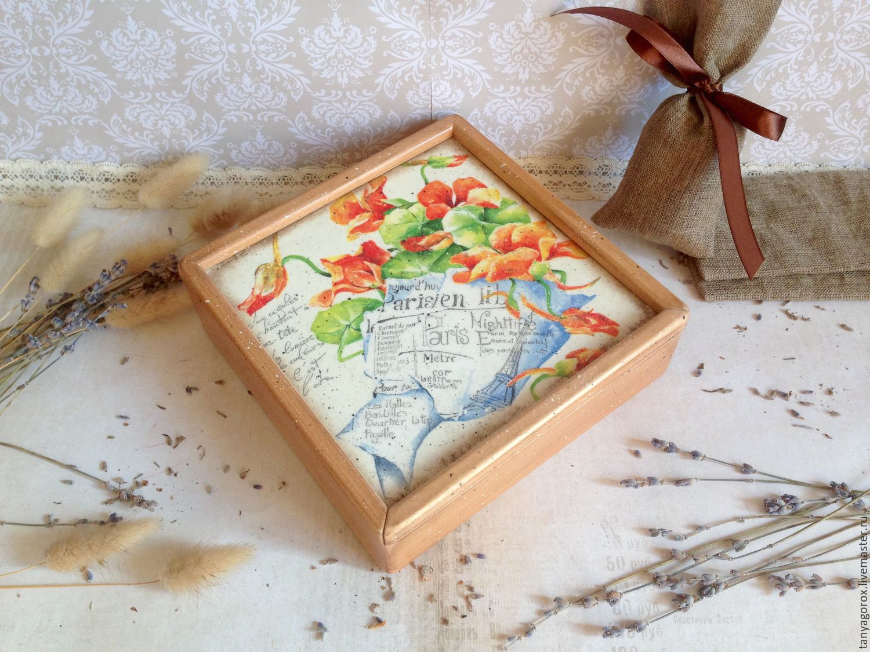 Шкатулки ручной работы. Ярмарка Мастеров - ручная работа. Купить Настурции  - коробочка для мелочей. Handmade. Короб, настурция, короб для хранения