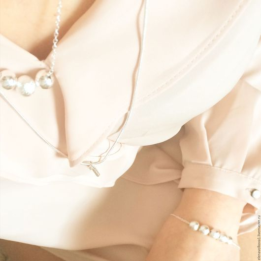 Браслеты ручной работы. Ярмарка Мастеров - ручная работа. Купить Браслет на цепочке шарики серебро - универсальный браслет. Handmade.