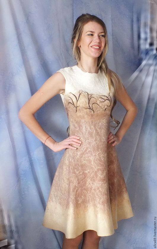 Платья ручной работы. Ярмарка Мастеров - ручная работа. Купить Валяное платье ..Карамель. Handmade. Бежевый, платье из шерсти