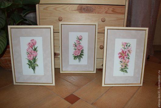 Картины цветов ручной работы. Ярмарка Мастеров - ручная работа. Купить Вышитые картины - ЦВЕТЫ: розы, тюльпаны, лилии. Handmade.