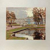 Картины и панно ручной работы. Ярмарка Мастеров - ручная работа Картина с парком екатерининского дворца пастель. Handmade.
