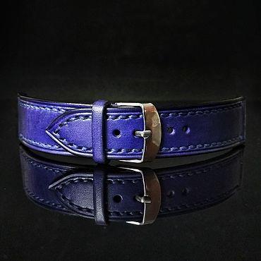 Аксессуары ручной работы. Ярмарка Мастеров - ручная работа Кожаный ремешок для часов синий. Handmade.
