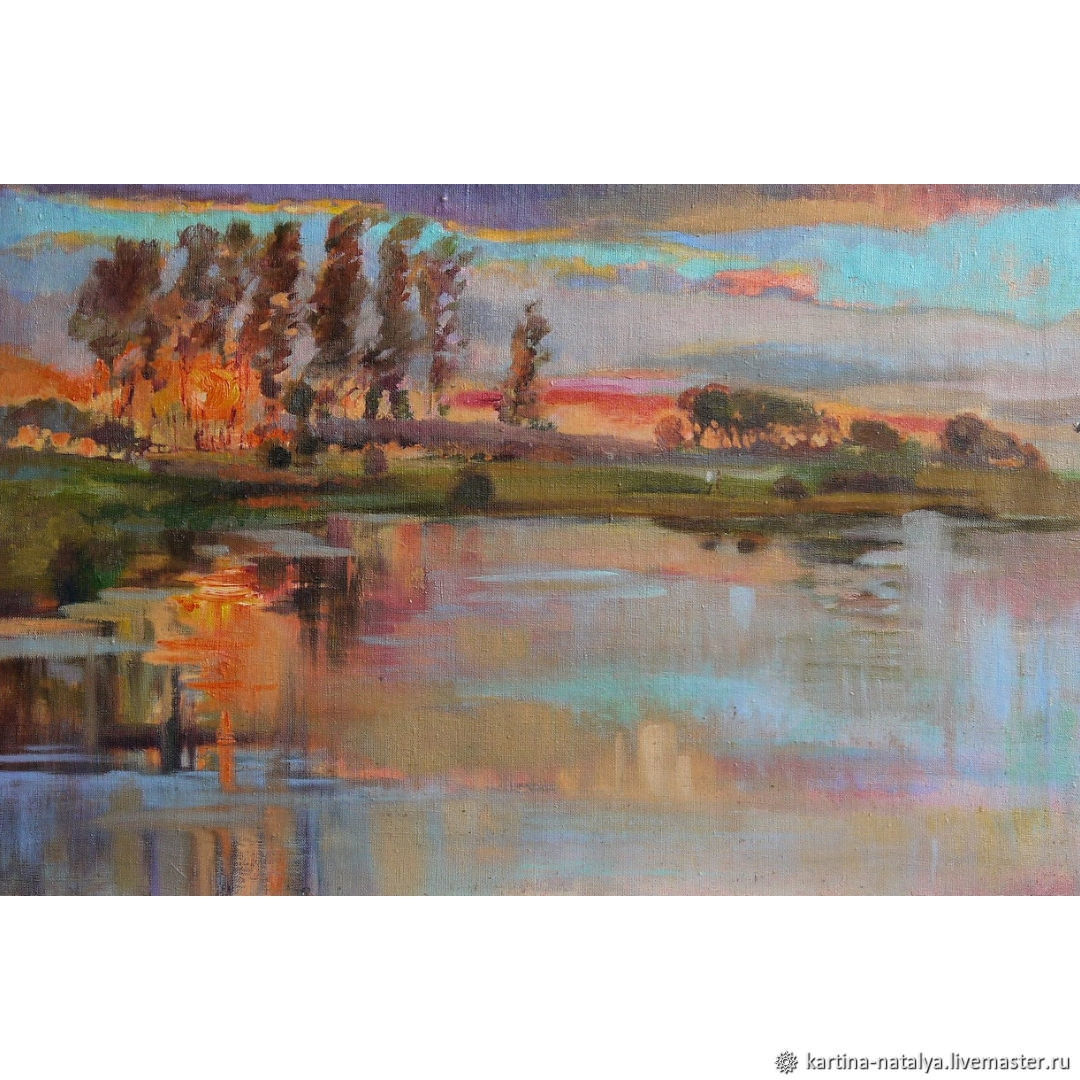Painting 45,5h70,  cm Sunset on the Lake oil on canvas Red Sun, Pictures, Dimitrovgrad,  Фото №1