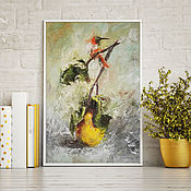 handmade. Livemaster - original item The pear tree and the bird, abstract oil painting on canvas. Handmade.
