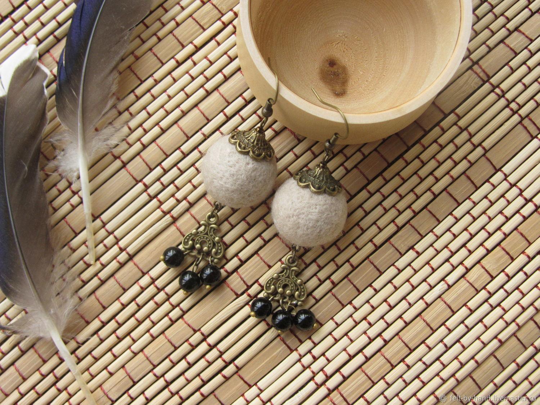 Felted earrings with black agate, Earrings, Dmitrov,  Фото №1