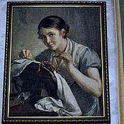 """Картины и панно ручной работы. Ярмарка Мастеров - ручная работа """"Кружевница"""", вышивка крестом. Handmade."""