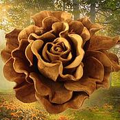 Украшения handmade. Livemaster - original item The colors of the skin. Decoration brooch pin GOLDEN ROSE brown rose. Handmade.