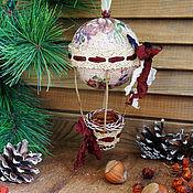 Для дома и интерьера ручной работы. Ярмарка Мастеров - ручная работа Елочная игрушка - Воздушный шар - Цветочный сад - подвес. Handmade.