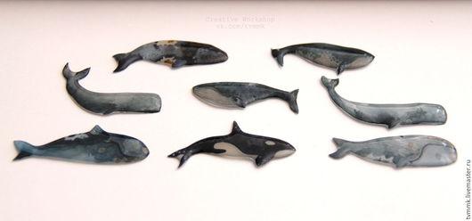 Броши ручной работы. Ярмарка Мастеров - ручная работа. Купить Кито-брошки - 8 видов! (брошки киты). Handmade.