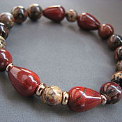 Украшения handmade. Livemaster - original item Bracelet red Jasper and leopard Jasper