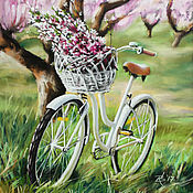 Картины и панно ручной работы. Ярмарка Мастеров - ручная работа Велосипед в саду. Handmade.