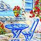 """Пейзаж ручной работы. Ярмарка Мастеров - ручная работа. Купить """"На Террасе у Моря"""" - картина маслом на холсте. Handmade. Голубой"""