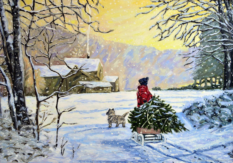 Картина маслом. Копия. Зимний пейзаж - Накануне Нового года. Продана, Картины, Кострома,  Фото №1