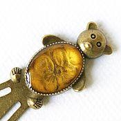 handmade. Livemaster - original item Bookmark for books Bear gold color. Handmade.
