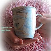 Девушка с одуванчиком кружка надглазурная роспись фарфора