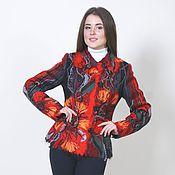 Одежда ручной работы. Ярмарка Мастеров - ручная работа Пиджак красный Аленький цветочек. Handmade.