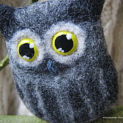 Brooches handmade. Livemaster - original item Felted Owl brooch. Handmade.