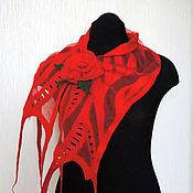 Аксессуары ручной работы. Ярмарка Мастеров - ручная работа Красный Нуно-войлочный шарфик. Handmade.