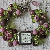 handmade. Livemaster - original item Bracelet watch quartz teardrop natural lepidolite Amethyst. Handmade.