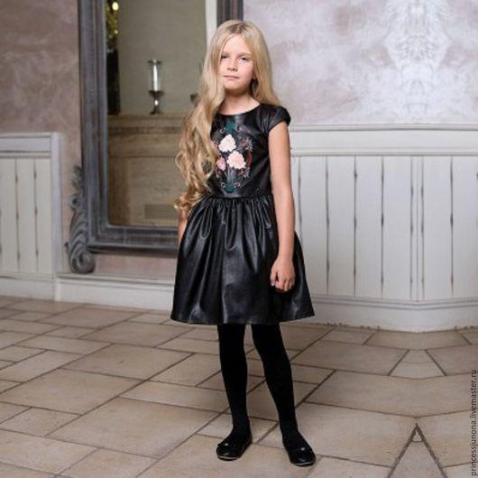 Одежда для девочек, ручной работы. Ярмарка Мастеров - ручная работа. Купить Платье с вышивкой  022. Handmade. Черный, детское платье