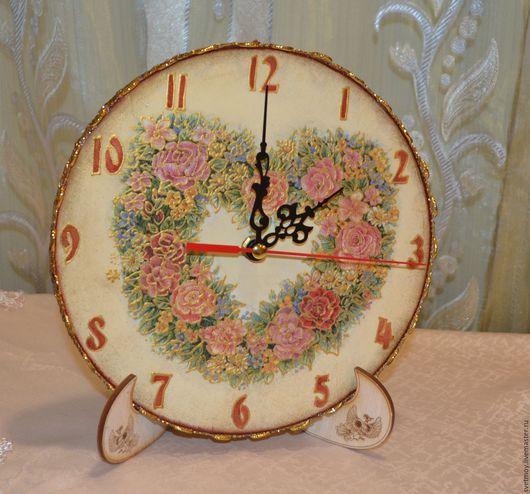 """Часы для дома ручной работы. Ярмарка Мастеров - ручная работа. Купить Часы """"Цветочное сердце"""". Handmade. Бежевый, 8 марта"""