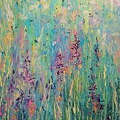 Картины и панно handmade. Livemaster - original item Oil painting with flowers. Abstract Flowers Field grass Summer. Handmade.