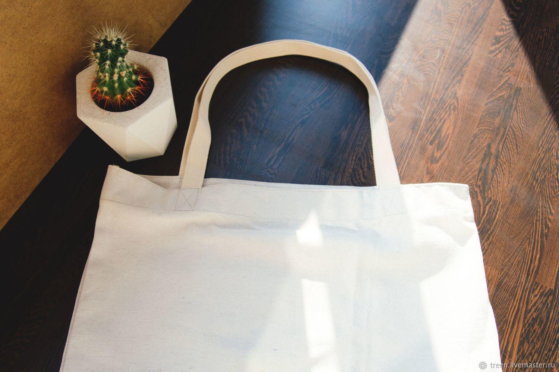 Сумка-шоппер большая из 100% хлопка, белая. Zero Waste Bag, Экосумки, Тверь, Фото №1