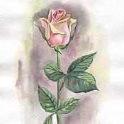 Картины и панно ручной работы. Ярмарка Мастеров - ручная работа Картина акварелью. Чайная роза.. Handmade.