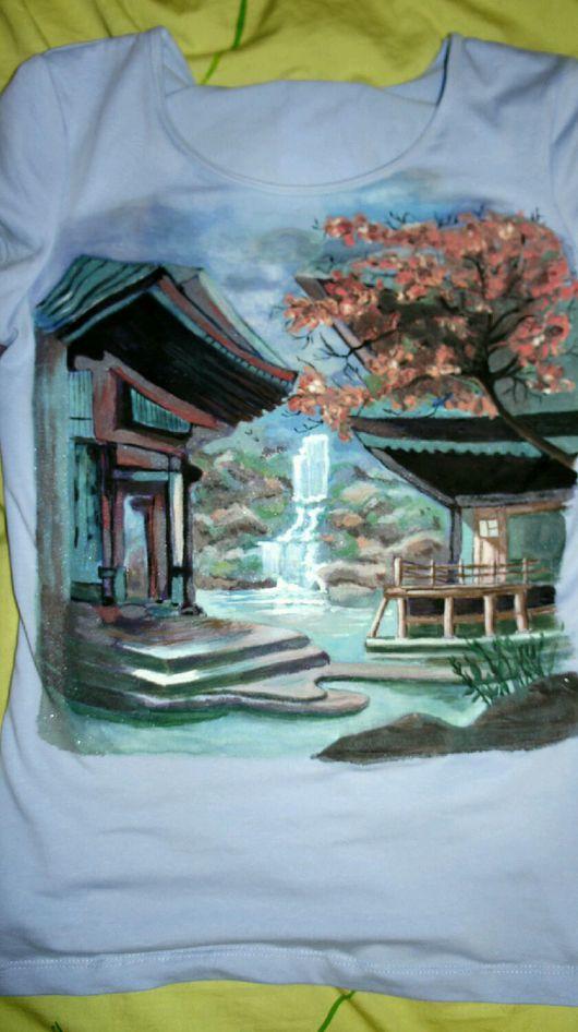 Футболки, майки ручной работы. Ярмарка Мастеров - ручная работа. Купить Японский пейзаж. Handmade. Разноцветный, майка с рисунком