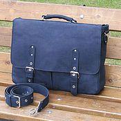 Сумки и аксессуары handmade. Livemaster - original item Men`s leather bag ALEXANDER ultramarine. Handmade.