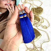 Украшения handmade. Livemaster - original item Earrings-brush scattering Sapphire Indigo dark blue gold plated cubic Zirconia. Handmade.