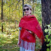 Аксессуары handmade. Livemaster - original item Red felted scarf Red Moscow, scarf with pockets. Handmade.