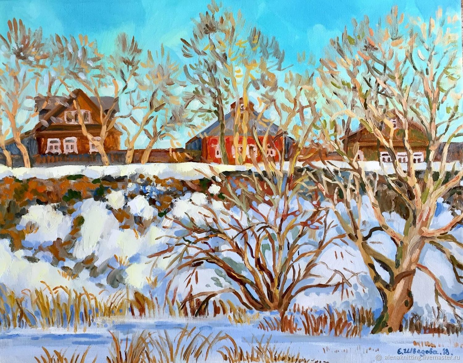 Elena Shvedova oil Painting `the March snow. Suzdal` 40h50, 2018, the ends dyed.