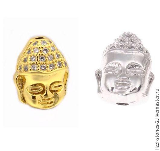 Бусина голова будды серебро и золото (Milano) Евгения (Lizzi-stones-2)