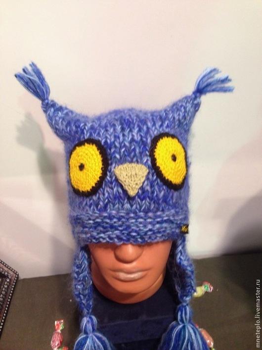 """Шапки ручной работы. Ярмарка Мастеров - ручная работа. Купить Шапка сова """"Голубая"""". Handmade. Синий, шапка зверь, совунья"""