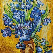 """Картины ручной работы. Ярмарка Мастеров - ручная работа Копия картины Ван Гога """"Натюрморт с ирисами"""", 1889. Handmade."""