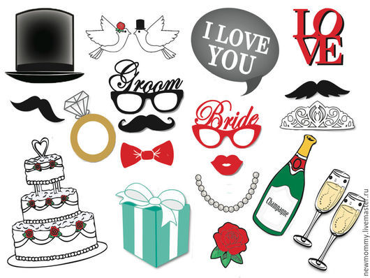 Набор фото атрибутов (фотобутафории) для свадебной фотосессии 20 элементов.