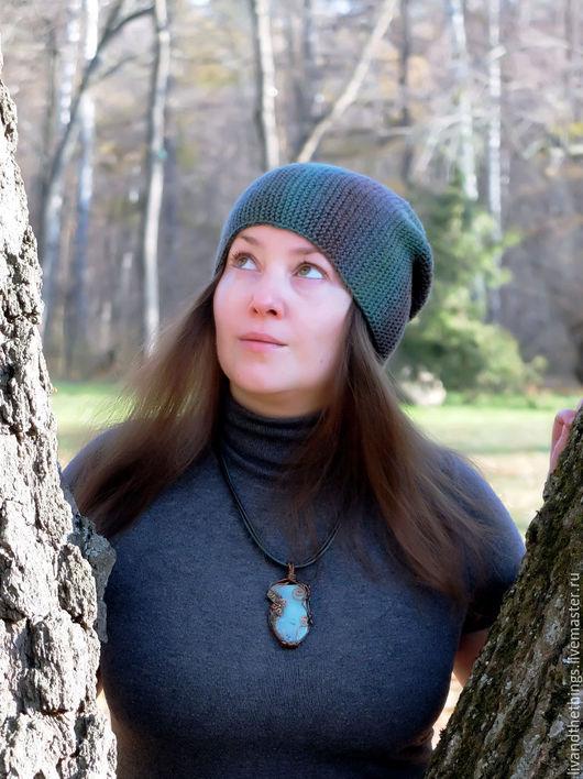 Шапки ручной работы. Ярмарка Мастеров - ручная работа. Купить Тёплая зелёная шапка бини (шерсть 100%). Handmade. зеленый