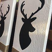 Элементы интерьера ручной работы. Ярмарка Мастеров - ручная работа Чёрный олень на белом, панно. Handmade.