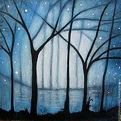 Картины и панно ручной работы. Ярмарка Мастеров - ручная работа Картина  Звезды  и  зайцы     акрил  пейзаж  дерево синий. Handmade.