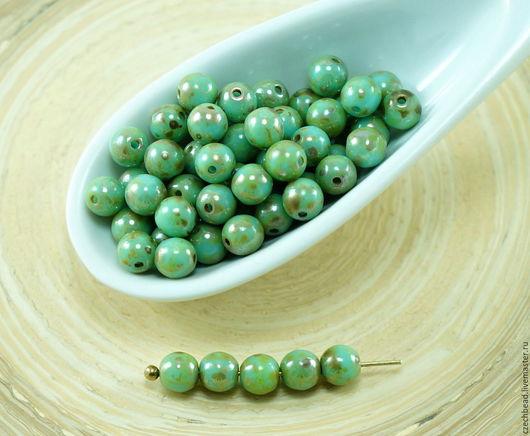 Для украшений ручной работы. Ярмарка Мастеров - ручная работа. Купить 100шт Пикассо бирюзовый синий зеленый круглый чешское стекло бусины бу. Handmade.