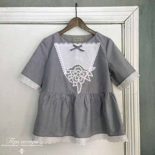 """Блузки ручной работы. Ярмарка Мастеров - ручная работа. Купить Блуза """"Грозовой перевал"""". Handmade. Серый, винтажный стиль"""