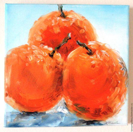 Натюрморт ручной работы. Ярмарка Мастеров - ручная работа. Купить Натюрморт Три Апельсина Холст Масло. Handmade. Оранжевый, подарок