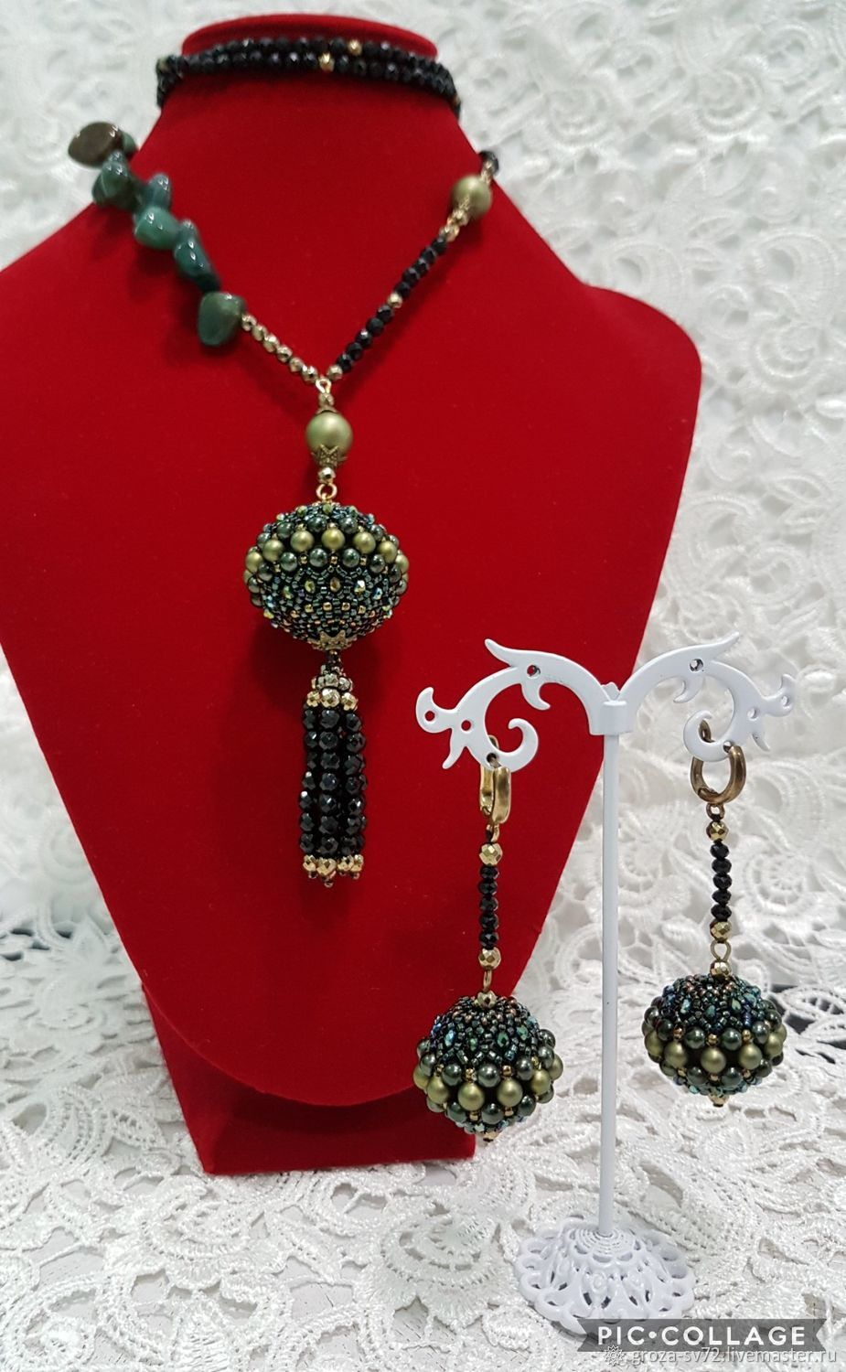 Set of beads and natural stones 'Moss', Jewelry Sets, Moscow,  Фото №1